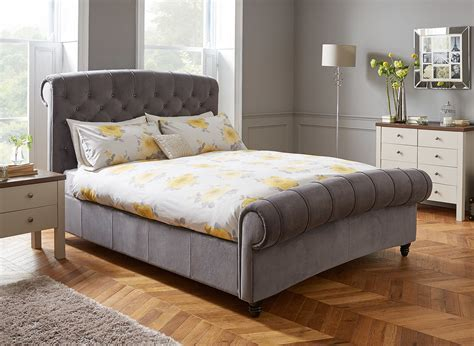 Dreams Bedroom Furniture Ellis Grey Velvet Upholstered Bed Frame Dreams