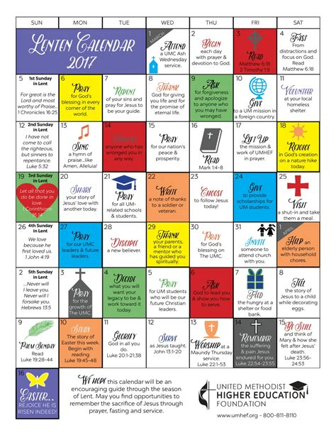 printable lent calendar united methodist higher