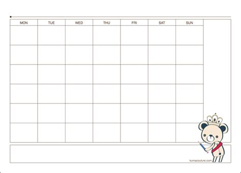 printable a4 monthly planner kuma printable monthly planner a4 size kuma couture
