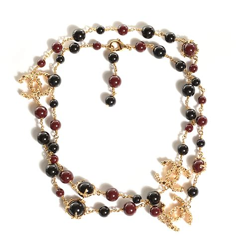 chanel beaded necklace chanel beaded cc strand necklace black 100089
