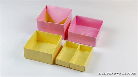 Origami Paper Tray - origami 2 tier box tutorial toolbox with lift out tray