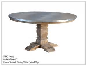 metal top dining room table metal top round dining table nrc 70109 fischer furniture