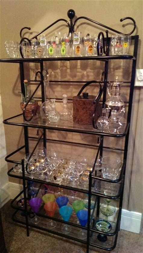 repurposed bakers rack made a great bar accessory to