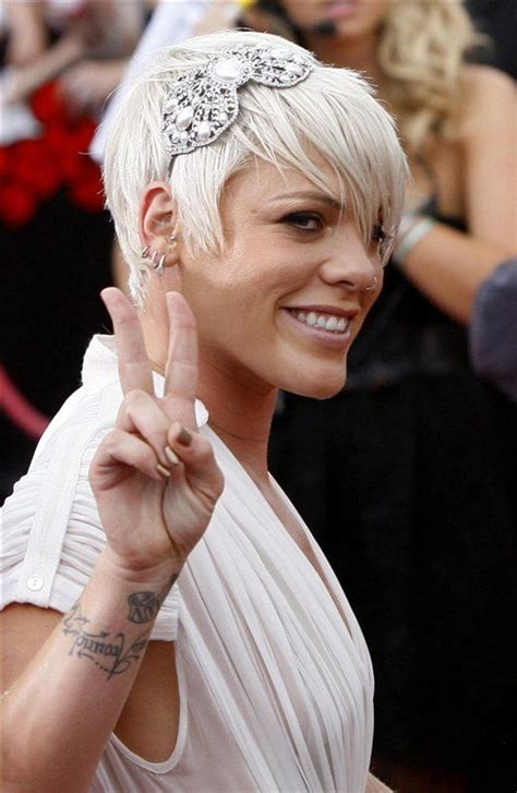 singer pink hairstyles photo gallery pink short cut with longer front hair colour and cuts
