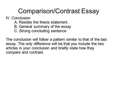 Compare And Contrast Essay Conclusion Exle by Writing Portfolio With Mr Butner Ppt