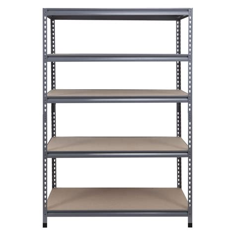 lowes metal shelves shop workpro 72 in h x 48 in w x 24 in d 5 tier steel freestanding shelving unit at lowes