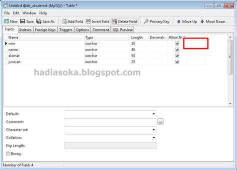 membuat database akademik membuat database dan tabel di mysql dengan navicat