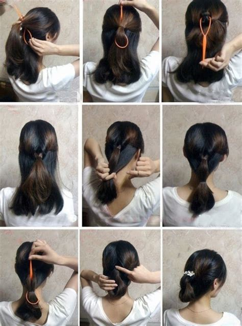 step by step guide to a beauitful hairstyle 盘头发的40种方法 你会几种 六 扎头发网