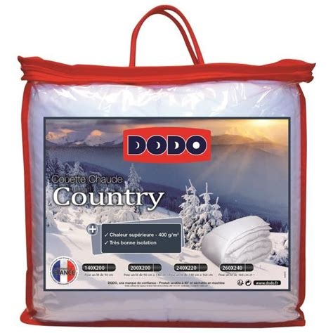 Couette Chaude Dodo by Dodo Couette Chaude Country 400 Gr M 178 200x200 Cm Blanc