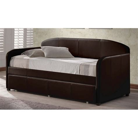 Upholstered Daybed With Trundle Atlin Designs Faux Leather Upholstered Daybed With Trundle In Brown Ad 423345 262472