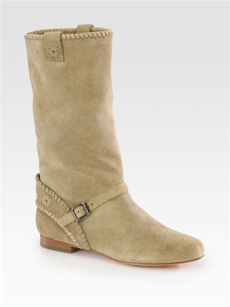 rogers boots rogers palomino suede buckle boots in beige lyst