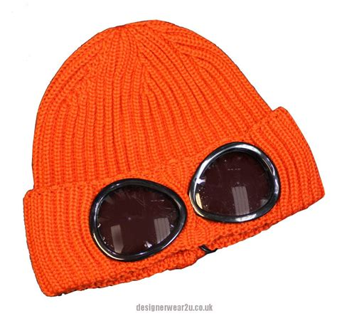 cp hat cp company orange wool beanie hat with goggles hats from