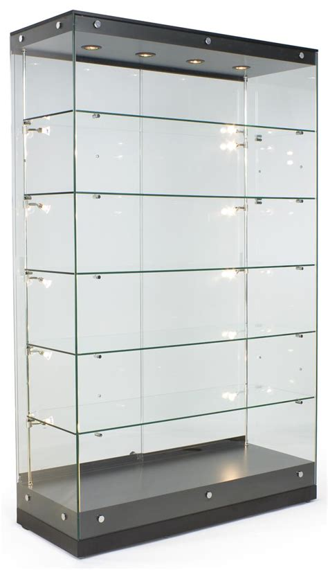 Trophy Display Cabinets With Glass Doors 48 Quot Trophy Display W Frameless Design Adjustable Shelves Sliding Door Black Display
