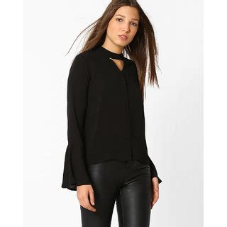 Bell Sleeve Plain Top buy westrobe black plain bell sleeve top