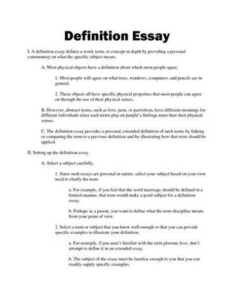Definition Of Essay by Outline Of An Extended Definition Essay Proofreadingx Web Fc2
