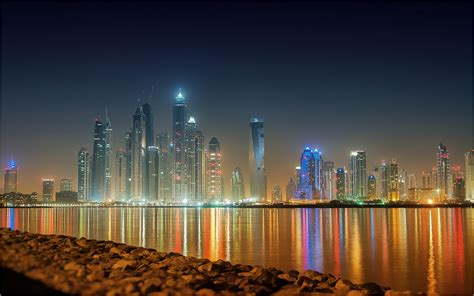 dubai skyline reflection  night hd wallpapers high resolution  wallpaperscom