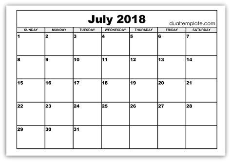 printable calendars july july 2018 calendar printable template holidays pdf word