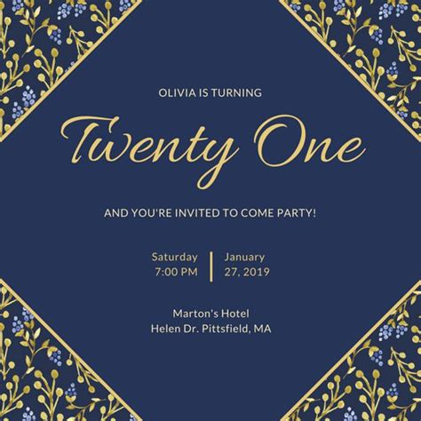 21st birthday invitation templates canva