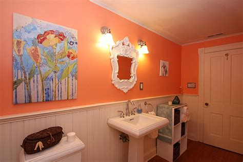 peach bathroom ideas bright peach bathroom with white washboard room ideas