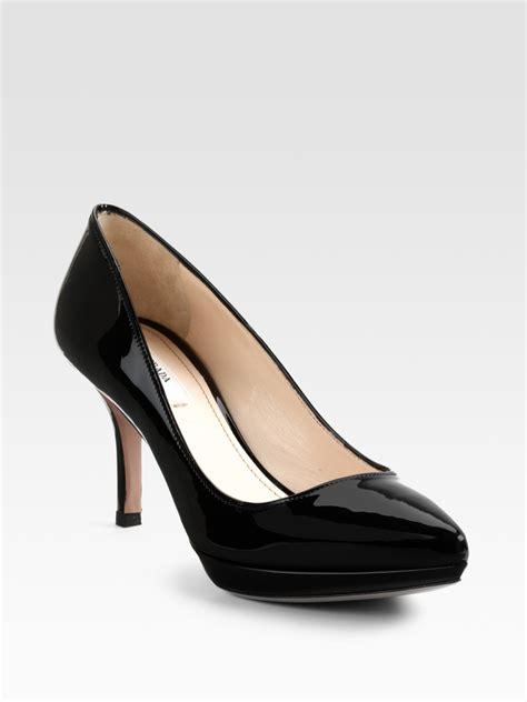 black patent leather pumps prada patent leather pumps in black lyst