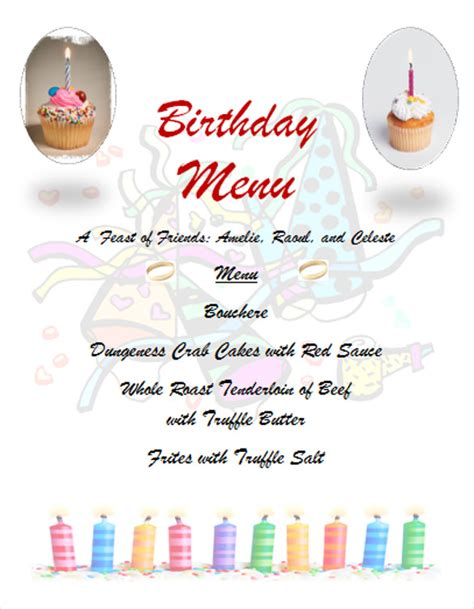 birthday menu card template birthday menu templates 19 free psd eps indesign