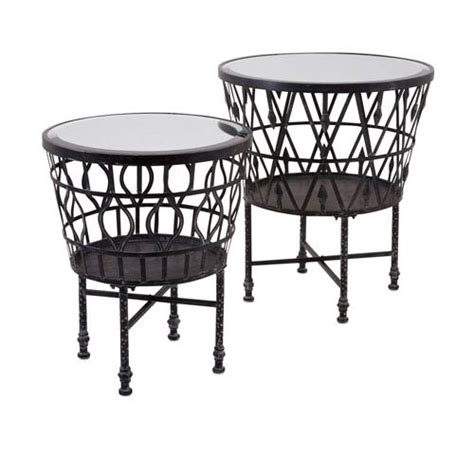 bradfield set of two drum side tables imax zaria drum mirror accent tables set of 2 on sale