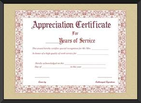 Service Certificate Template For Employees by Appreciation Certificate For Years Of Service Template