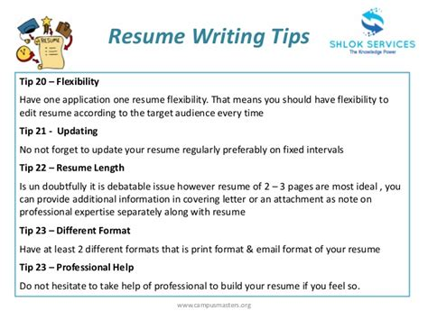 Tips For A Resume by Resume Writing Tips