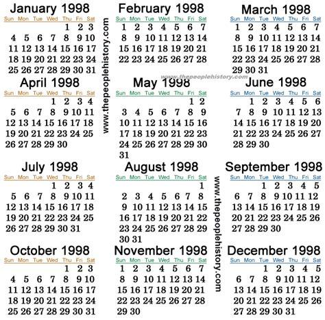 1998 calendar usa
