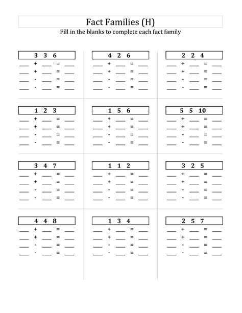 Free Fact Family Worksheets by Easy Fact Families Worksheets 2017 Activity Shelter