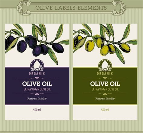 Set Of Olive Oil Label Stickers Vector Free Vector In Encapsulated Postscript Eps Eps Olive Labels Templates