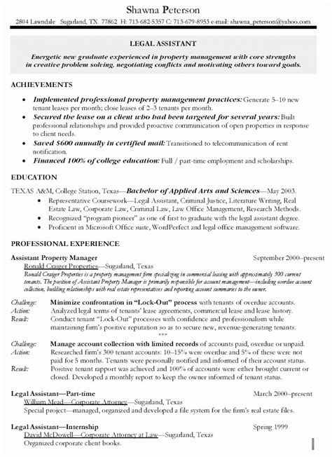 Exle Of Resume For Assistant by Assistant Property Manager Resume Template Resume Builder