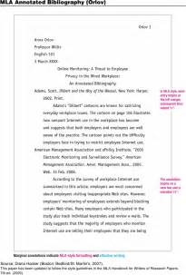 annotated bibliography template mla annotated bibliography exle for free