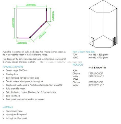 Shower Screen Dimensions by Marbletrend Corner 1000 1000 Shower Screen Complete Door