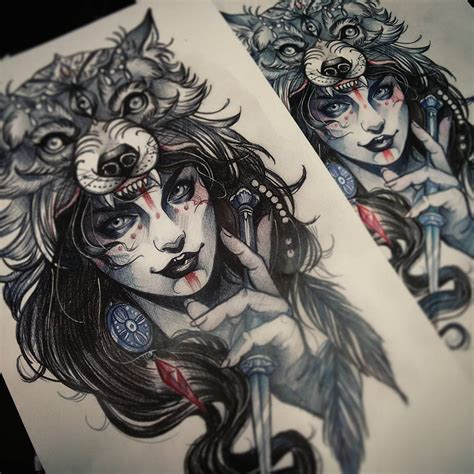 tattoo girl animal head traditional wolf head hat tattoo www imgkid com the