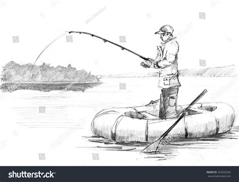 how to draw a fisherman boat pencil drawing fisherman rod fishing on stock illustration
