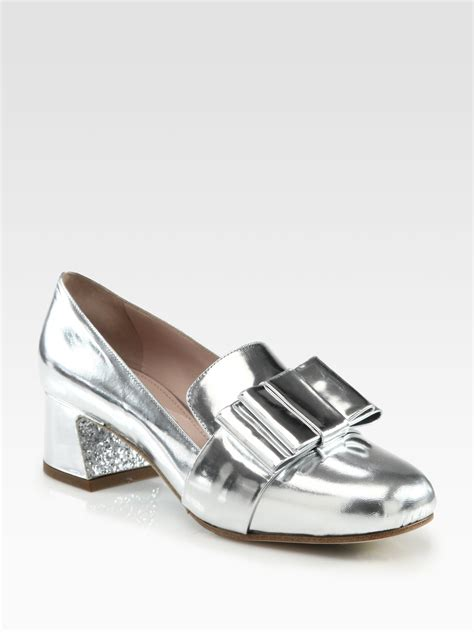 10 Coolest Miu Miu Shoes by Miu Miu Metallic Leather Bow Glitter Heel Loafer Pumps In