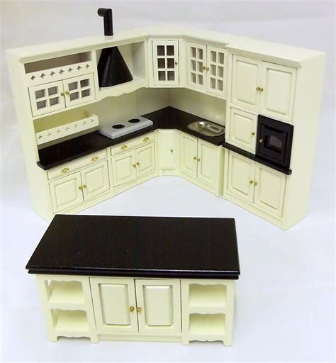 Dolls House Kitchen Furniture Dolls House Miniature 1 12 Scale Wooden Fitted Kitchen Furniture Set Black Ebay