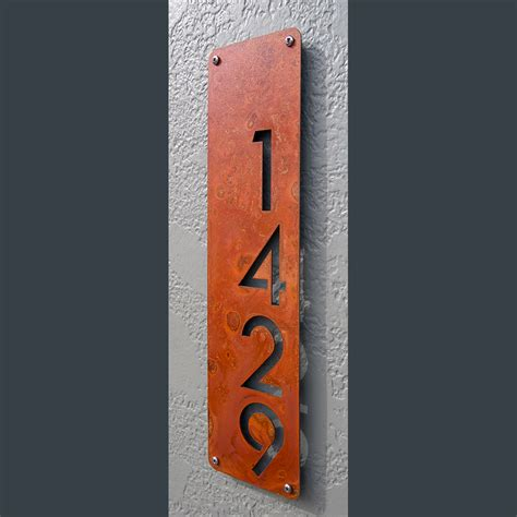 metal house numbers custom modern house numbers vertical offset in rusted steel