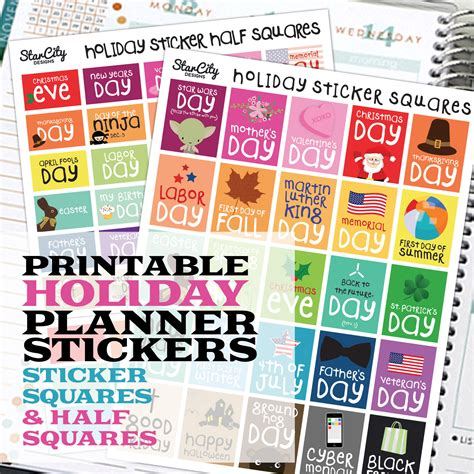 printable planner supplies printable planner stickers holiday sticker box planner