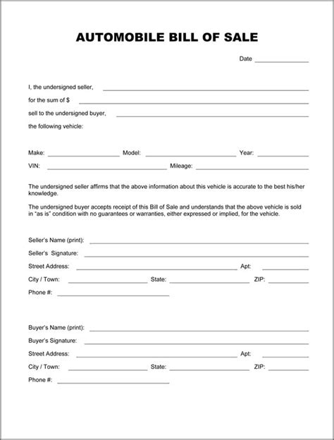 free automobile bill of sale template bill of sale form pdf