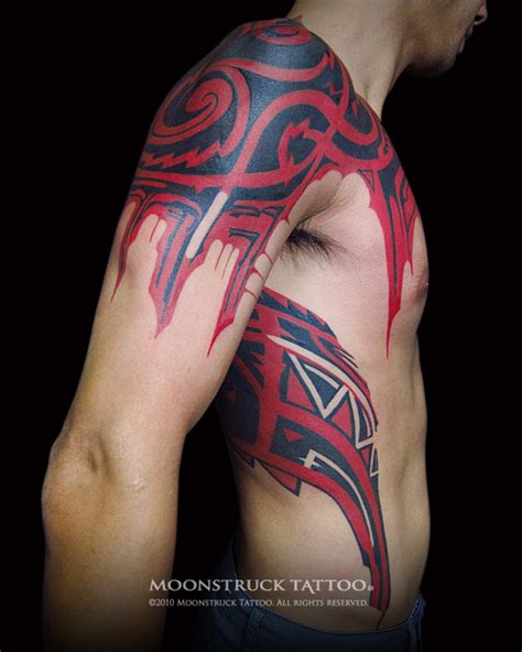 tattoo tribal red moonstruck tattoo red black