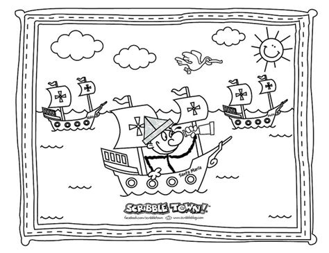 Columbus Day Coloring Pages For Kindergarten | sailing coloring pages print color craft