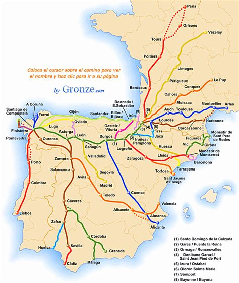 camino way map the varied routes on the camino de santiago or the way of