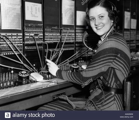Switchboard Search 1930s Telephone Operator At Switchboard Looking At Stock Photo Royalty