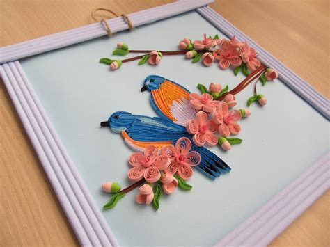 Handmade Arts - wall decor quot quot home decor quot birds and cherry blossom