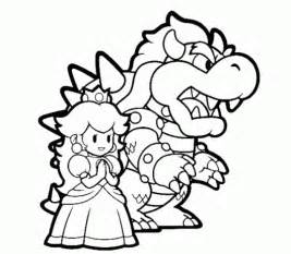 bowser and princess peach mario coloring pages italian