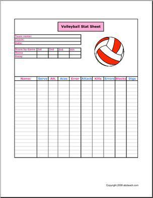 printable volleyball stats stat sheet volleyball keep track of the players the