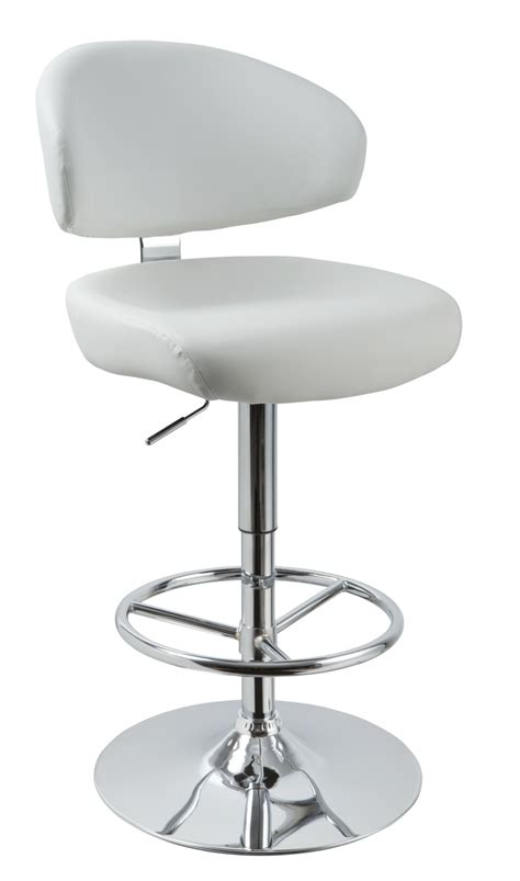 Modern White Bar Stool T1034 Eco Leather White Contemporary Bar Stool