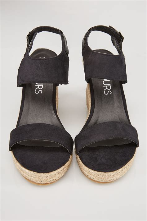 Finish Line Gift Card Codes - black microfibre high wedge espadrille sandal in eee fit size 4 5 6 7 8 9 10